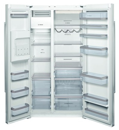 """B22CS50SNW Bosch Energy Star 36"""" Linea 500 Series Counter Depth Side by Side Refrigerator with Dispenser - White"""
