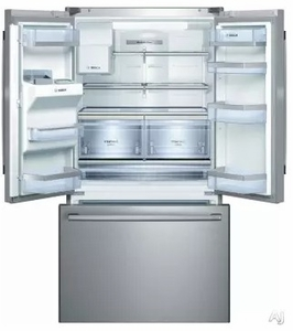 "B26FT70SNS Bosch 36"" 800 Series French Door 25.9 Cu Ft. Refrigerator with Gallon Door Storage and SuperFreeze - Stainless Steel"