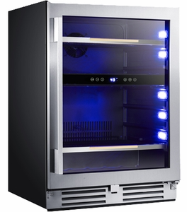 "BCSE50R3S Avanti 24"" Elite Series Beverage Cooler with Soft Touch Control and Blue LED Electronic Display and  Tempered Double-Pane Glass Door - Stainless Steel"