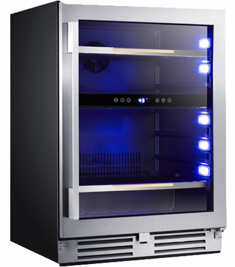 """BCSE50R3S Avanti 24"""" Elite Series Beverage Cooler with Soft Touch Control and Blue LED Electronic Display and  Tempered Double-Pane Glass Door - Stainless Steel"""