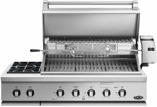 "BGC48BQRL DCS Traditional 48"" Grill with Integrated Sideburner for Built-in or On-Cart Applications - LP Gas - Stainless Steel"