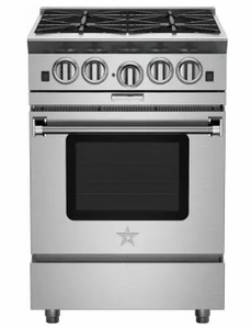 """BSP244BN 24"""" BlueStar Platinum Series Pro-Style Freestanding Gas Range with 4 Open Burners and Powr Convection Oven - Stainless"""