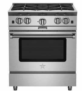"BSP304BN 30"" BlueStar Platinum Series Pro-Style Freestanding Gas Range with 4 Open Burners and Powr Convection Oven - Stainless Steel"