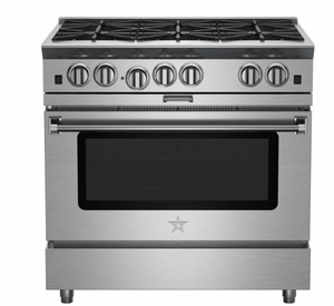 """BSP366BN 36"""" BlueStar Platinum Series Pro-Style Freestanding Gas Range with 6 Open Burners and Powr Convection Oven - Stainless Steel"""