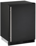 """CO1224FB00B U-Line 1000 Series 24"""" Wide Combo Refrigerator & Ice Maker Holds up to 62 Bottles - Field Reversible - Black"""