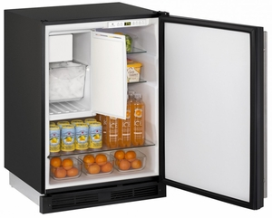 """CO1224FB-00B U-Line 1000 Series 24"""" Wide Combo Refrigerator & Ice Maker Holds up to 62 Bottles - Field Reversible - Black"""