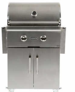 """C1C28NGFS Coyote 28"""" C-Series Natural Gas Grill on Cart with Interior Hood Lights and 40,000 total BTU - Stainless Steel"""