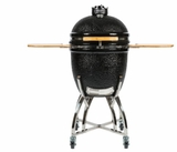 C1CHCSFS Coyote Asado Smoker with Cart and Side Shelves - Black