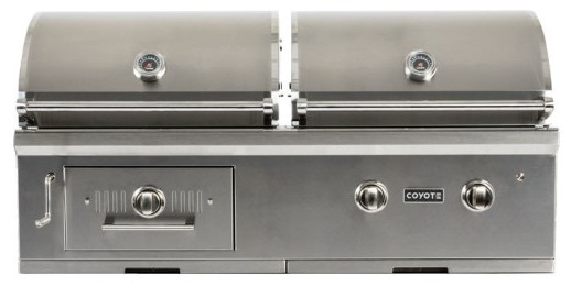 "C1HY50LP Coyote 50"" Liquid Propane Hybrid Gas and Charcoal Grill - Stainless Steel"