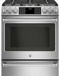 "C2S986SELSS GE 30"" Cafe Series Slide-In Front Control Dual-Fuel Range with True European Convection and Wifi Connect- Stainless Steel"
