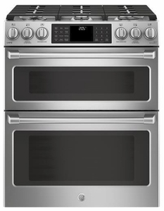 "C2S995SELSS GE 30"" Cafe Series Slide-In Front Control Dual-Fuel Double Oven Range with True European Convection and Wifi Connect- Stainless Steel"