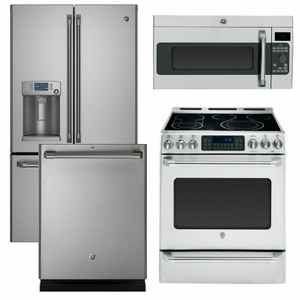 Package CAFE2 - Ge Cafe Appliances - 4 Piece Appliance Package with Electric Range - Stainless Steel