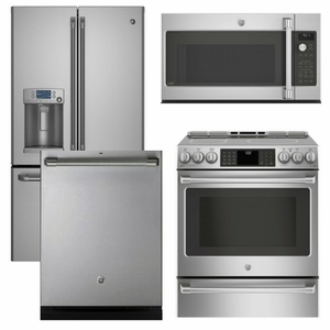 Package CAFE2 - Ge Cafe Appliances - 4 Piece Appliance Package with Electric Range - Includes Free Microwave - Stainless Steel