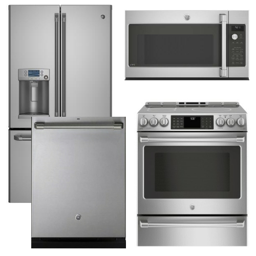 Package CAFE2 - Ge Cafe Appliances - 4 Piece Appliance Package with Induction Range - Includes Free Microwave - Stainless Steel