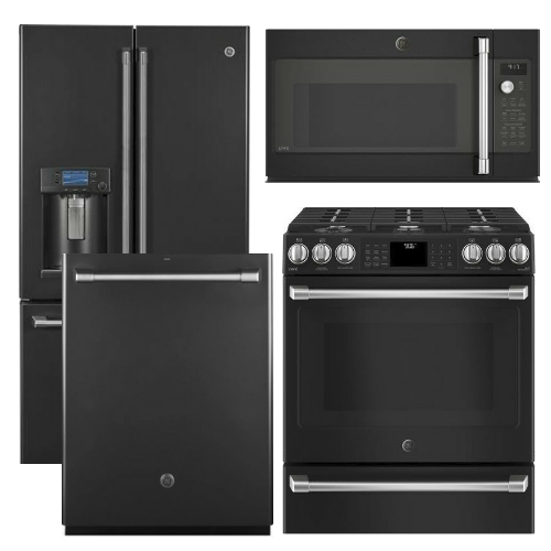 Package CAFEBS3 - GE Cafe Appliance Package - 4 Piece Cafe Appliance Package with Gas Range - Black Slate