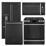 Package CAFEBS3 - GE Cafe Appliance Package - 4 Piece Cafe Appliance Package with Gas Range - Includes Free Microwave - Black Slate
