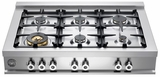 "CB36600X Bertazzoni Professional Series 36"" 6-Burner Gas Range Top - Stainless Steel"