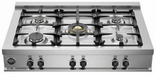 """CB36M500X Bertazzoni 36"""" Pro-Style Gas Rangetop with 5 Sealed Burners and 18,000 BTU - Stainless Steel"""