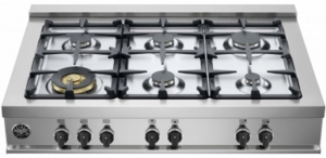 "CB36M600X BERTAZZONI 36"" Gas Rangetop with 6 Sealed Burners 18,000 BTU Dual-Ring Power Burner - Stainless Steel"