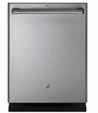 "CDT835SSJSS 24"" GE Cafe Built-In Dishwasher with Stainless Steel Interior and Hidden Controls - Stainless Steel"