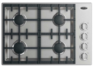 """CDV2304HL DCS 30"""" Drop-In Cooktop with 4 Burner Halo - Liquid Propane - Stainless Steel"""