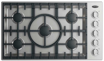 "CDV2365HL DCS 36"" Drop-In Cooktop with 5 Burners and a Halo - Liquid Propane - Stainless Steel"