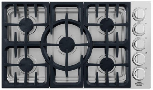 "CDV365N DCS 36"" Wide Professional Drop-in Gas Cooktop with 5 Dual Flow Burners - Natural Gas - Stainless Steel"