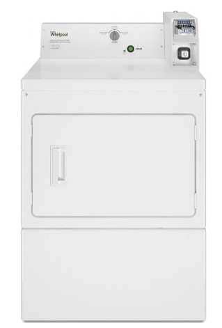 """CEM2745FQ Whirlpool 27"""" 7.4 Cu. Ft. Electric Commercial Super Capacity Dryer with Factory-Installed Coin Slide and Coin Box and Full-Wrap Console - White"""