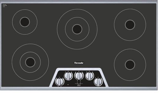 "CEM365NS Thermador 36"" Masterpiece Series Electric Cooktop with Digital Control - Black and Stainless Steel"