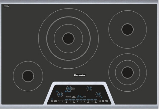 """CET304NS Thermador 30"""" Masterpiece Series Electric Cooktop with CookSmart - Black & Stainless Steel"""