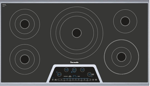 "CET365NS Thermador 36"" Masterpiece Series Electric Cooktop with CookSmart - Black & Stainless Steel"