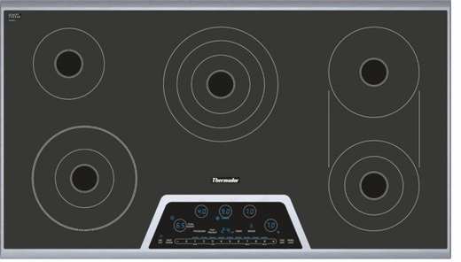 "CET366NS Thermador 36"" Masterpiece Series Electric Cooktop with Dual Bridge Element - Black & Stainless Steel"