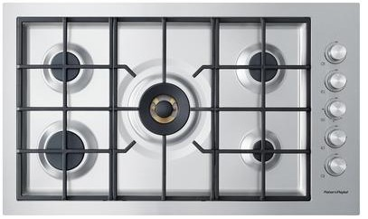 "CG365DWLPACX2 Fisher & Paykel 36"" Flush Gas on Steel Cooktop - LP Gas - Brushed Stainless Steel"
