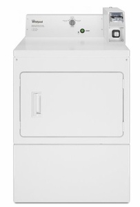 "CGM2745FQ Whirlpool 27"" 7.4 Cu. Ft. Gas Commercial Super Capacity Dryer with Factory-Installed Coin Slide and Coin Box and Full-Wrap Console - White"