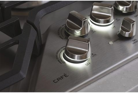 "CGP9530SLSS GE 30"" Cafe Series Built-In Gas Cooktop with 5 Sealed Burners and White LED Heavy Duty Knobs - Stainless Steel"