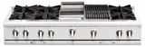 "CGRT604B4L Capital 60"" Liquid Propane Range Top with 8 Open Burners and 12"" Grill - Stainless Steel"