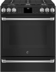 "CGS986EELDS GE 30"" Cafe Series Slide-In Front Control Gas Range with True European Convection and Self-Clean - Black Slate"
