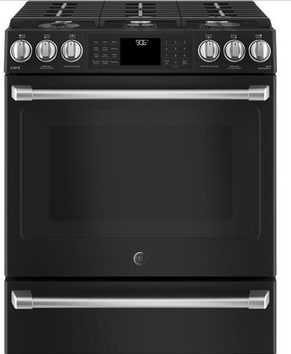 """CGS986EELDS GE 30"""" Cafe Series Slide-In Front Control Gas Range with True European Convection and Self-Clean - Black Slate"""