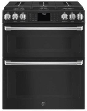 "CGS995EELDS GE 30"" Cafe Series Slide-In Front Control Gas Double Oven Range with True European Convection and Self-Clean - Black Slate"
