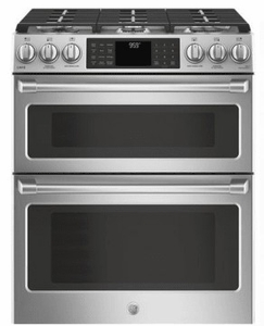 "CGS995SELSS GE 30"" Cafe Series Slide-In Front Control Gas Double Oven Range with True European Convection and Self-Clean - Stainless Steel"