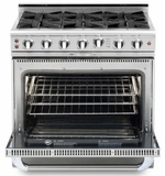 """CGSR362B2N Capital Culinarian Series 36"""" Self-Clean Gas Range with 4 Open Burners and 12"""" Grill - Stainless Steel"""