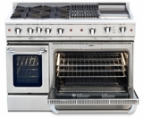 "CGSR484B2L Capital Culinarian Series 48"" Self-Clean Liquid Propane Range with 6 Open Burners and 12"" Grill - Stainless Steel"