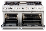 """CGSR604GG2N Capital Culinarian Series 60"""" Self-Clean Gas Range with 6 Open Burners and 24"""" Griddle - Stainless Steel"""