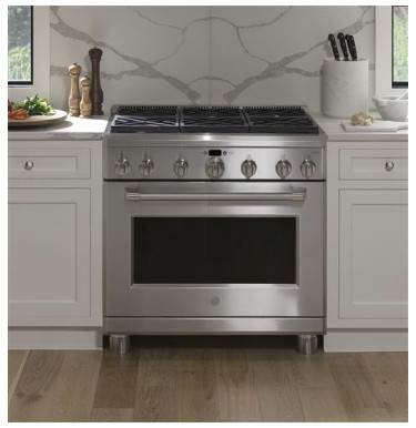 "CGY366SELSS GE 36"" Cafe Series Free-Standing All Gas Professional Range with 6 Sealed Burners and  Reversible Burner Grates - Stainless Steel"