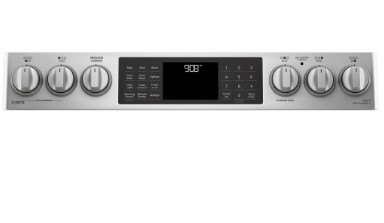 """CHS985SELSS GE 30"""" Cafe Series Slide-In Front Control Induction Range with True European Convection and Self-Clean - Stainless Steel"""