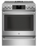 "CHS985SELSS GE 30"" Cafe Series Slide-In Front Control Induction Range with True European Convection and Self-Clean - Stainless Steel"