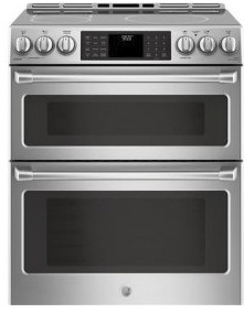 """CHS995SELSS GE 30"""" Cafe Series Slide-In Front Control Induction Double Oven Range with True European Convection and Self-Clean - Stainless Steel"""