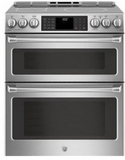 "CHS995SELSS GE 30"" Cafe Series Slide-In Front Control Induction Double Oven Range with True European Convection and Self-Clean - Stainless Steel"