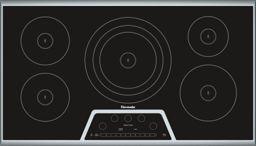 CIT365KB Thermador 36 Inch Masterpiece Series Induction Cooktop with 5 Zones - Black with Stainless Steel Frame