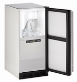 "CLR1215SOD40B U-Line 15"" Outdoor Clear Ice Machine - Drain Pump Included - Reversible Hinge - Stainless Steel"